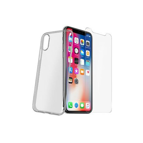 Vetro Temperato + Custodia Trasparente per iPhone X, XS